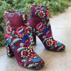 Joie Saleema Brocade Floral Embroidered Ankle Boot